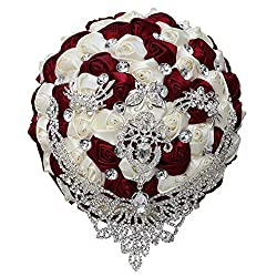 Wine Red Tassel Diamond Brooch Bride Wedding Bouquet