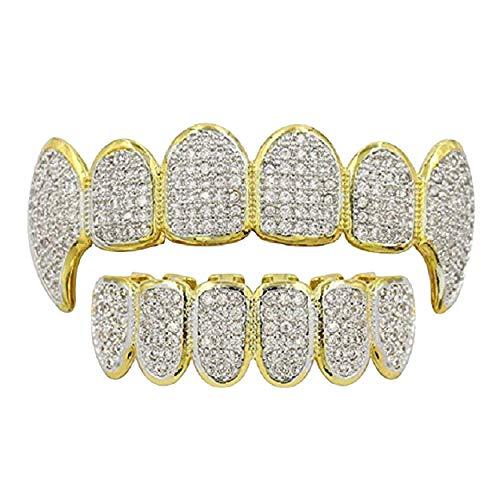 24 Karat vergoldete Silberdiamantzähne Joker Gold Compatible with Grillz für den Mund + 2 zusätzliche Formteile + Stoffpost-Malone-Kostüm (Micropave Fangs - Gold)