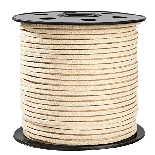 Cuerda de Cuero Gamuza Cordón de Ante para el Collar de la Pulsera Joyas de Abalorios de DIY Hacer Artesanía 3mm*90m (Caqui)