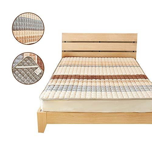 SYSP flanel matrasbeschermer in verschillende maten, geschikt voor onder het bed, soft-matras-topper, geschikt voor bedden, ademende premium matrasbeschermer, natuur