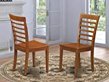 East West Furniture Milan dining chair - Wooden Seat and Saddle Brown Solid wood Frame dining chair set of 2