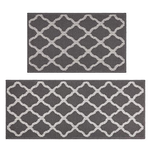 "Famibay Kitchen Mat Set,2 Pieces Non Slip Moroccan Trellis Kitchen Floor Mats Machine Washable Kitchen Runner Rug Carpet Set for Kitchen,Sink, Laundry, Entryway, Hallway 20""x32""+20""x47""(Gray)"