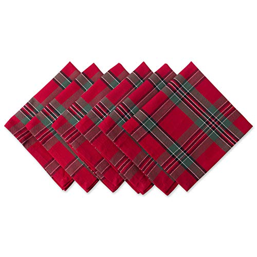 DII Red Plaid 100% Cotton Oversized Napkin for Holidays, Family Gatherings, & Christmas Dinner - Set of 6 (20x20)