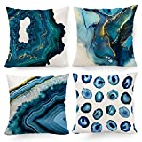 Hexagram Navy Blue Decorative Pillow Covers 18 x 18, Marble Design Texture Throw Pillow Covers Set of 4 Turquoise Blue Room Decor Pillow Cover for Couch Sofa Living Room Patio Summer Home Decor