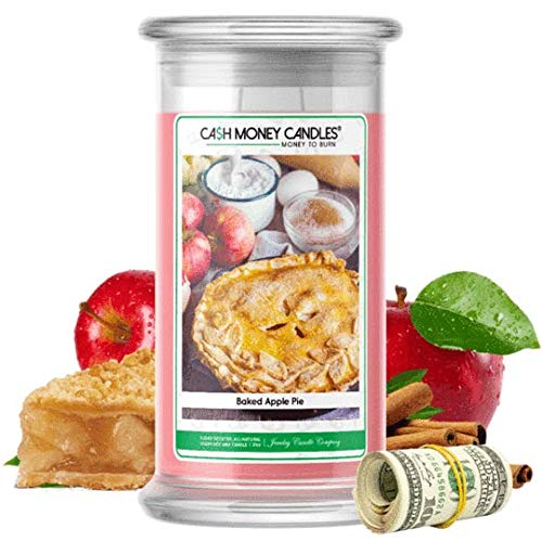 Cash Money Candles | $2-$2500 Inside | Guaranteed Rare $2 Bill | Large Long-Lasting 21oz Jar All Natural Soy Candle | Hand Poured Made in The USA Family Owned (Baked Apple Pie)