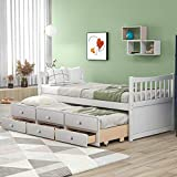 Merax Solid Wood Daybed Bed Frame No Box Spring Needed with X-Style Headboard, Footboard and Two Storage Drawers Trundle, Twin, White