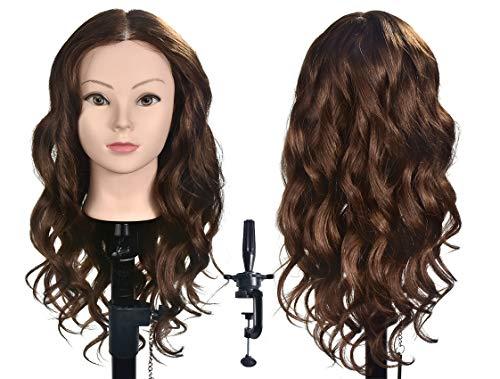 Teste di manichino XT con capelli umani dorati e lisci, ideali per la pratica del parrucchiere, per l'allenamento, per la cosmetologia e lo styling dei capelli, con morsetto incluso