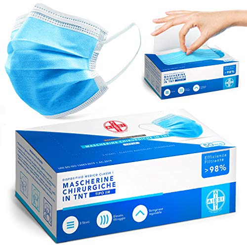 AIESI® Mascherine chirurgiche certificate in TNT a 3 strati colore azzurro con elastici tipo IIR (Confezione da 50 pezzi) # Dispositivo Medico Professionale # Filtrazione batterica 99,9%