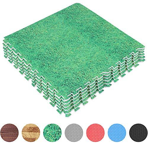 GORILLA SPORTS Schutzmatten-Set 8 Puzzle-/Sport-Matten 60 x 60 cm, Bodenschutz in Gras-Optik