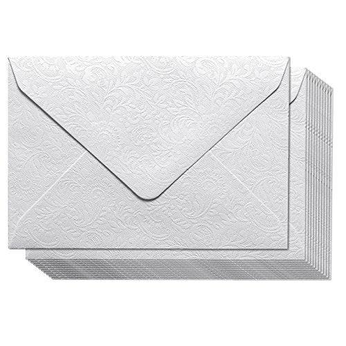 Kleine Briefumschläge – 100 Stück große Mini-Umschläge für Geschenk- und Visitenkarten, Blumenmuster, kleine Umschläge für kleine Notizkarten (weiß, 10,9 x 7,6 cm)