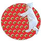 Tapis de jeu pour enfants au sol Rugby Cartoon Rouge Tapis modernes doux ronds pour les décorations de salle de plancher 70x70cm