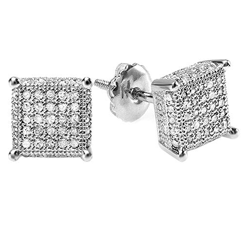 Dazzlingrock Collection 0.55 Carat (ctw) Round Diamond Dice Shape Mens Iced Stud Earrings 1/2 CT, 925 Sterling Silver
