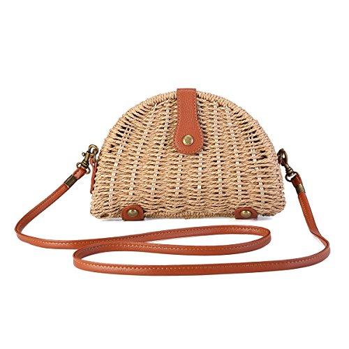 JOSEKO bolso de hombro tejido de paja de verano, bolso de playa, bolso de mensajero tejido de paja para mujer, bolso de paja tejido a mano, viajes al aire libre Marrón Claro