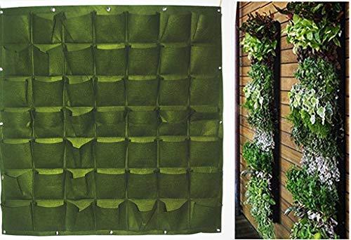 Ducomi Jardín vertical – 49 bolsillos – Macetas de pared para decoración – Maceta de diseño modular para colgar en la pared – Exterior e interior – Columna de flores colgantes de pared (verde)