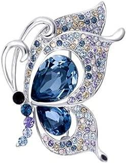 DYWJ ブローチ、蝶スワロフスキークリスタルブローチ、気質レディショールピン、ファッションコートピン、海の青