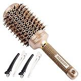 FIXBODY rond baril sanglier poils brosse avec Nano thermique céramique revêtement et ionique Tech pour cheveux brushing...