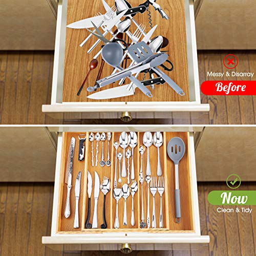 Bamboo Drawer Organizer, Expandable Kitchen Organizer/Utensil Holder and Adjustable Cutlery Tray for Silverware, Flatware, Knives( 5 Slots)