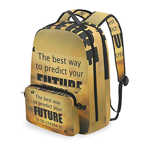SLHFPX Women/Men Bookbag The Best Way To Predict Future Is Create It Backpack with Detachable Crossbody Shoulder Bag for College School Students