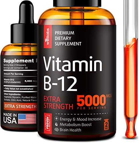 Vitamin B12 Sublingual - Organic B12 Vitamin 5000 MCG - Made in The USA - Methylcobalamin B12 Liquid Supplement - Energy, Mood & Metabolism Increase - Vegan Vitamin B12 Drops