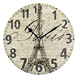 Pfrewn Eiffel Tower Paris Wall Clock Silent Non Ticking Retro Floral England Style Clocks Battery Operated Watercolor Vintage Desk Clock 10 Inch Quartz Analog Quiet Bedroom Living Room Home Decor