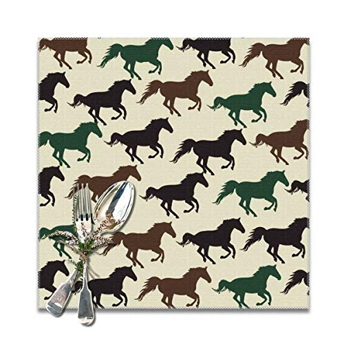 MOONLIT DECAYED Square Placemats for Dining Table,Durable Placemat for Kitchen Table,Horse Racing Tablemats 6 Pieces Large Stain Resistant Mat Heat-Resistant Cup Coasters- 12x12Inches
