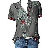 iHENGH Damen Sommer Top Bluse Bequem Lässig Mode T-Shirt Blusen Frauen Drucktasche Plus Size Kurzarm Bluse Easy Top Shirt(Grau, 5XL)