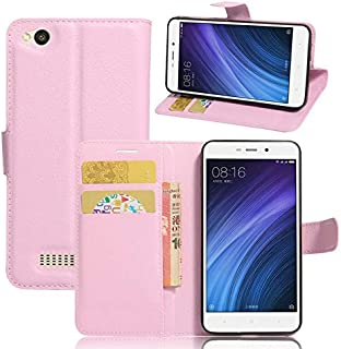 Xiaomi Redmi 4A - PU Leather Wallet Flip Case Stand Card Holder Cover -Pink