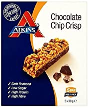 Atkins Daybreak Chocolate Chip Crisp Breakfast Bars with Sweeteners – 5 X 30 G – Pack of 2 Estimated Price : £ 25,89
