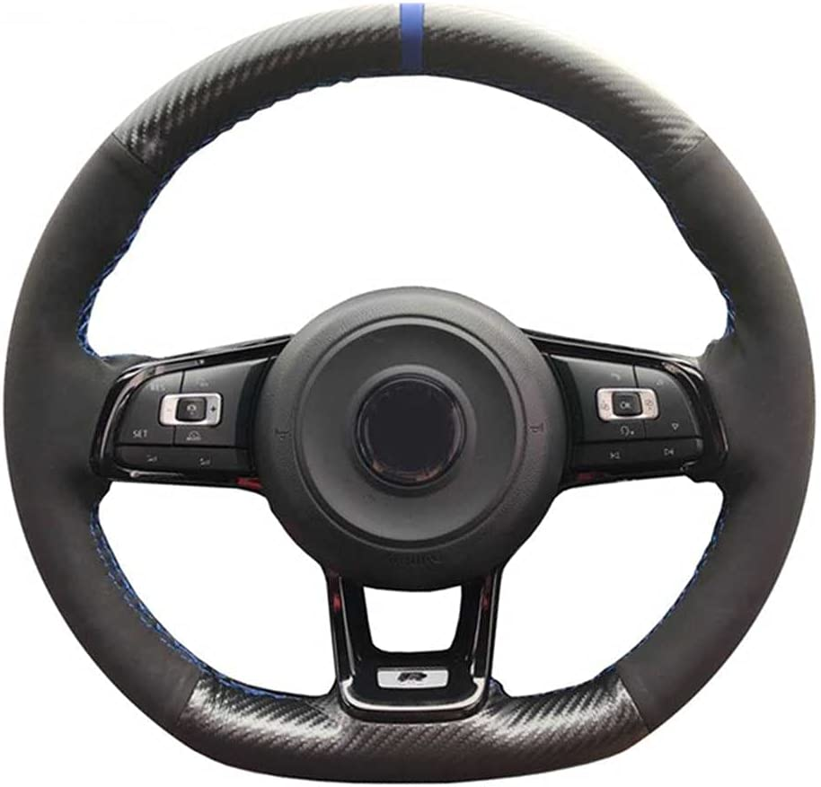 SAXTZDS Hand Stitch Carbon Fiber Max 72% OFF Car Whee Steering Our shop OFFers the best service Leather Suede