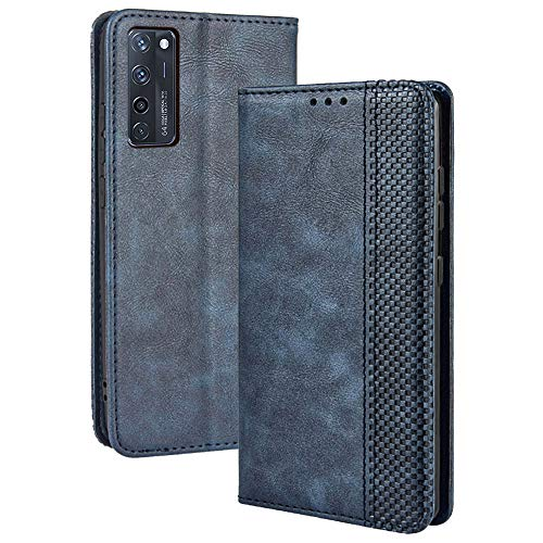 TANYO Leder Folio Hülle für ZTE Axon 20, Premium Flip Wallet Tasche mit Kartensteckplätzen, PU/TPU Lederhülle Handyhülle Schutzhülle - Blau