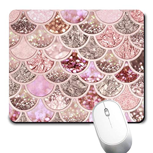 Yaxazepluy - Pink Mermaid Scale Mouse Pad, Gaming Rectangle Mousepad for Computer Laptop Non-Slip Rubber Desk Mat,Cute Office Gift (9.5 X 7.9 Inch)