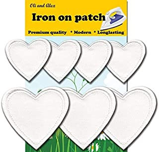 Iron On Patches - White Heart Patch 7 pcs Iron On Patch Embroidered Applique A-194