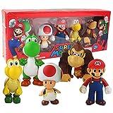 PQWE 5St 10Cm Super Mario Toad Yoshi Mushroom Donkey Kong Turtle, PVC Action Figur Leksaker Modell Dolls Presenter