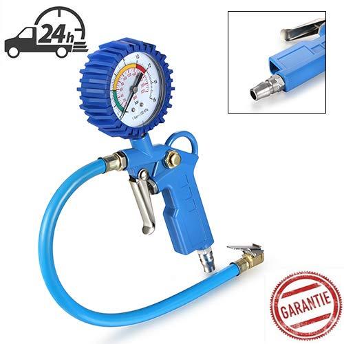 Reifendruckmesser Auto Reifenfüller Gerät KFZ Reifendruckprüfe Reifenfüll-Messgerät (Manometer-Messbereich 0-12 bar, Schlauchlänge 400 mm)
