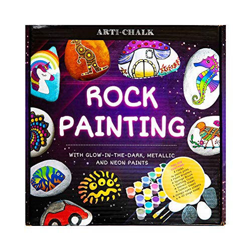 Rock Painting Kit for Adults, Arts and Crafts for Kids Ages 8-12 - Rock Painting Book and 16 Colors Glow in The Dark, Neon, Metallic Colors Acrylic Paint Garden Games for Adults and Children