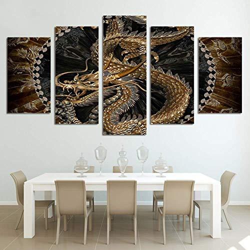 GWFVA canvasdruk 5 stuks Chinese gouden draak beeld modulaire kunst kunst schilderij posters voor wooncultuur, B, 30X40X230X60X230X80X1