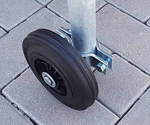 Laufrad für Bauzaun-Lauftor mit Schelle für alle Rohrdurchmesser - 2 kg
