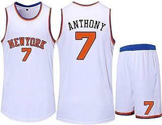 Jersey Set New York Knicks 7# Carmelo Anthony Basketball Jersey Sleeveless Vest Sports Shorts Sweatshirt Men's Fitness Competition Casual Set,White,2XS