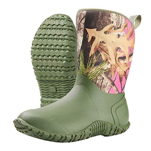 HISEA Women's Rubber Garden Boots Waterproof Insulated Yard Gardening Shoes Mid Height for Muck Mud Working Outdoor