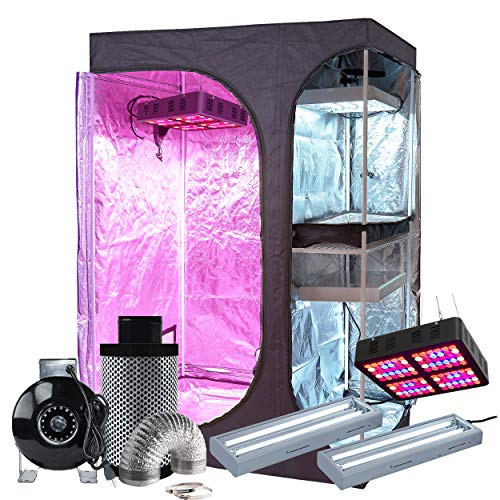 BloomGrow 48''x36''x72'' 2-in-1 600D Mylar Grow Tent + 6'' Fan Filter Duct Ventilation Kit + 600W Full Spectrum LED Grow Light + 2PCS 24W 2ft 2-lamp T5 Lights Indoor Plant Grow Tent Complete Kit
