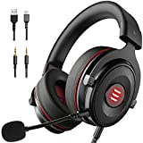 EKSA E900 PS4 Gaming Headset - PC Headset with 7.1 Surround Sound Noise Cancelling Mic, Memory Foam Earmuffs, Gaming Headphones Compatible with PC, PS5, Xbox One Controller, Nintendo Switch, Laptop