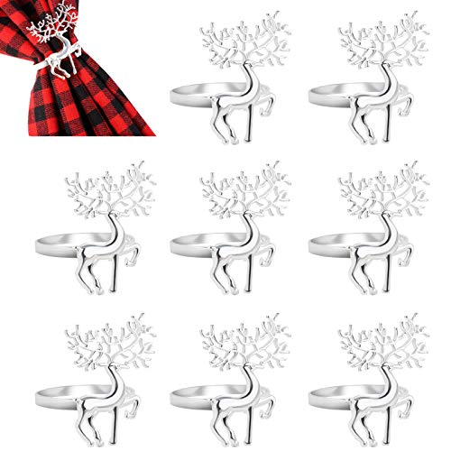 hatatit Christmas Napkin Rings Set of 8 Silver Deer Napkin Holders Dinner Tables Rings for Dinner Parties Weddings Family Gatherings Table Decoration