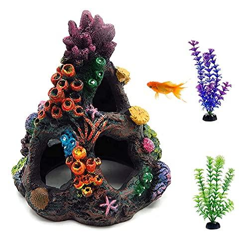 Hamiledyi Coral Aquarium Decoration Betta Hideouts Fish Tank Coral Reef Decor Ornament Colorful...