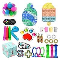 30個のフィジットのおもちゃセット、ポップバブルディンプル、大理石のメッシュポップの不安チューブフィジットパックセット (Color : 30 Pack-b)