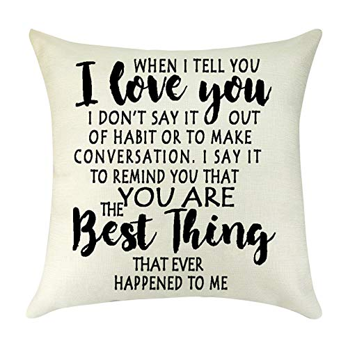 I Love You Throw Pillow Cover Cushion Case Couples Gifts Valentine's...