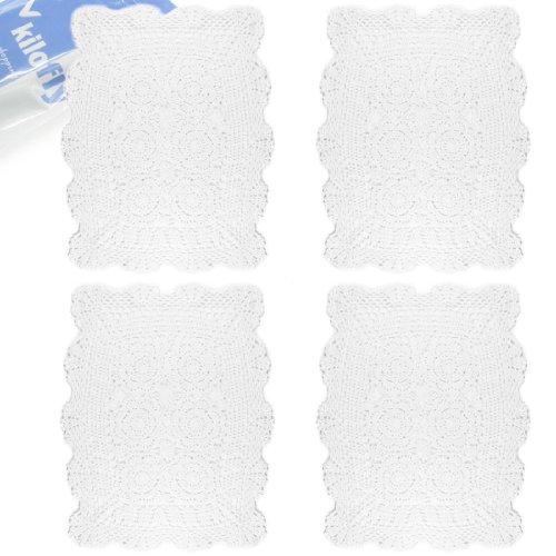 Kilofly, centrini fatti a mano all'uncinetto, in cotone e pizzo, confezione risparmio [set di 4], Cotone, bianco, 18.9 x 13.7 inch