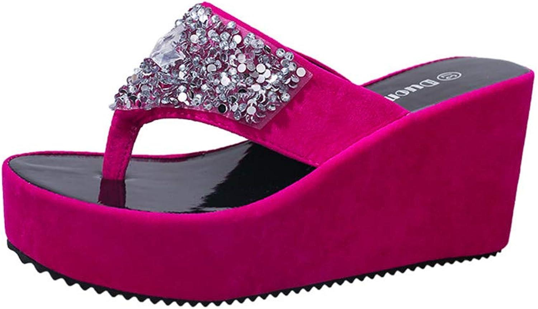 Women's Bling Sequins Slide Wedge Platform Flip Flops Summer Antislip Female Open Toe Soft High Heel Sandals