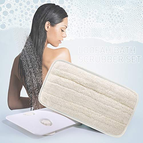 Loofah Back Scrubber for Shower for Men and Women, Natural Loofahs Bath Brush Sponge Hands-Free Replaceable Wall Mounted Back Massager with Holder