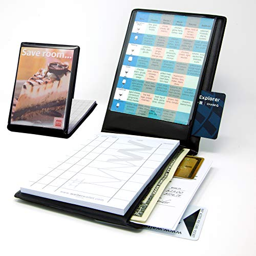 Waiter Wallet LTO Server Book Organizer and Restaurant Guest Order Pad with Guest Facing Display for Waitresses, Waiters and Bartenders, Medium Size fits Apron Pockets
