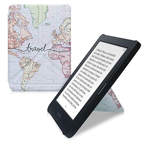 kwmobile Carcasa Compatible con Kobo Nia - Funda magnética de Origami para e-Book - Mapa Mundial Negro Multicolor